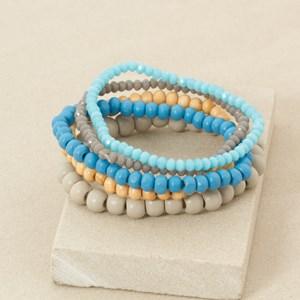 Five Strand Wood and Crystal Bracelet