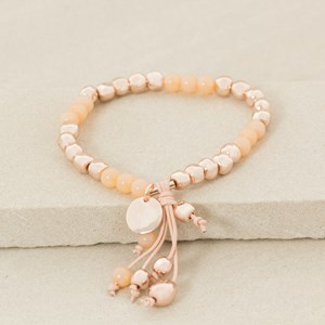 Stone and Ball Bracelet with Fine Tassel and Charms