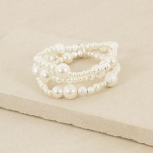 Three Strand Faux Diamante and Pearl Bracelet