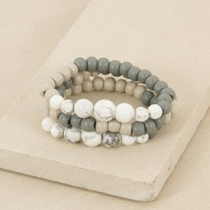 Three Strand Marble and Wood Bracelet
