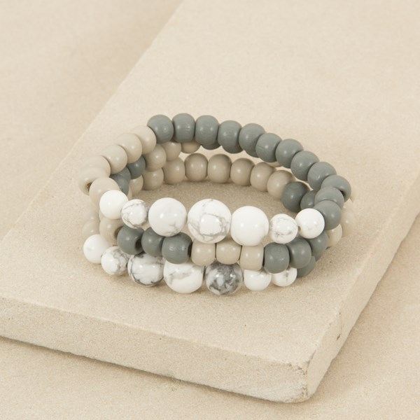 Three Strand Marble and Wood Bracelet