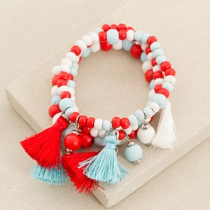 Three Strand Wood Bead Bracelet with Baubles