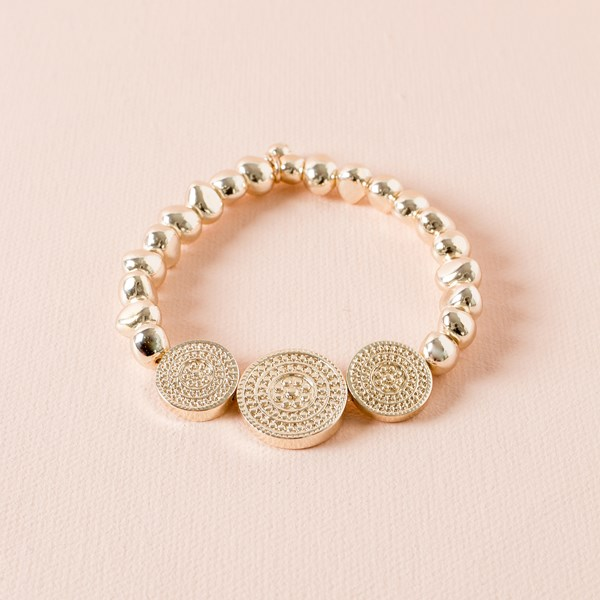 Uneven Metal Ball and Three Disc Elastic Bracelet