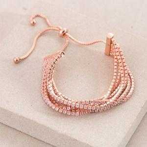 Six Strand Adjustable Back C.Z Bracelet