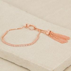 Fine C.Z Tassel Ends Adjustable Bracelet