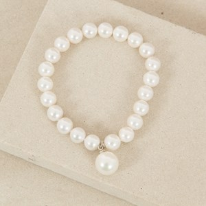 8mm Glass Pearl Drop Stretch Bracelet