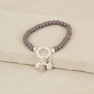 Aged Stone & Ring Charm Bracelet