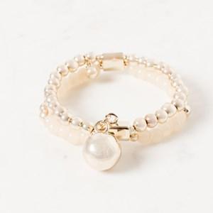 Double Strand Ball & Aged Stone Bracelet