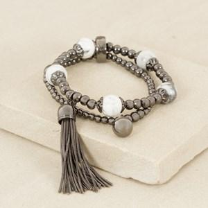 Double Strand Ball & Stone Tassel Bracelet