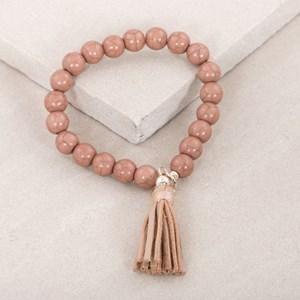 Aged Stone Ball Leather Tassel Bracelet