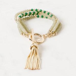 Four Strand Crystal Patterned Toggle Bracelet