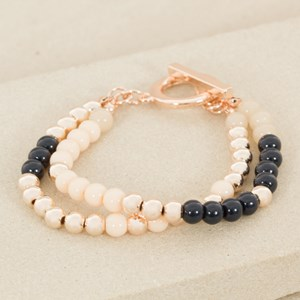 Toggle Two Strand Pattern Bead Bracelet