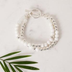 Toggle Two Strand Pattern Bead Bracelet