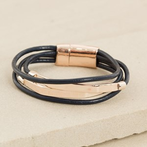 Leather & Bar Magnetic Cuff