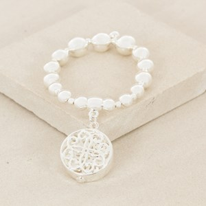 Interval Ball Pattern Filigree Charm Bracelet