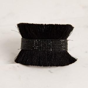 Diamonte Panel Cotton Fringe Cuff