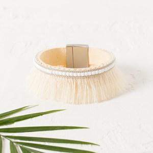 Facet Resin Cotton Fringe Cuff