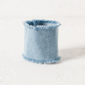 Wide Frayed Plain Denim Cuff