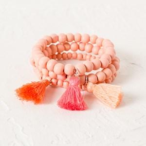 Three Strand Timber and Stone Tassel Bracelet