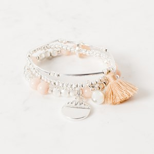 Stone and Tassel Trio Bracelet