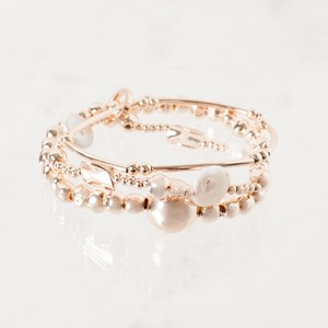 Metal and Pearl Trio Bracelet