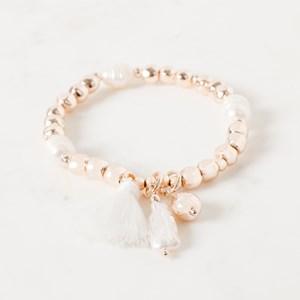 Bead and Pearl Tassel Bracelet