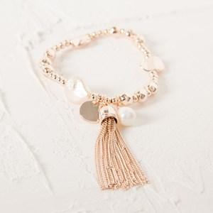 Bead and Pearl Metal Tassel and Disc Bracelet