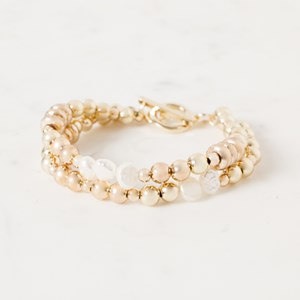 Two Strand Ball & Fresh Water Pearl Bracelet