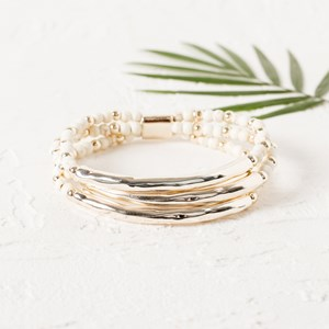Curved Metal Bars Bead Trio Bracelet