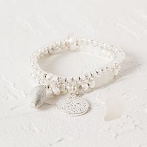 Double Strand Bead & Disk Drop Bracelet