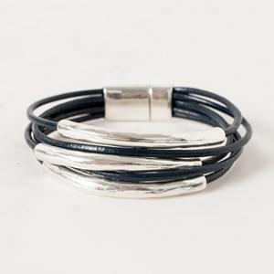 Metal Bars Leather Bracelet