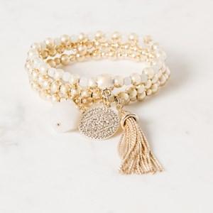 Three Strand Glass & Metal Stretch Bracelet