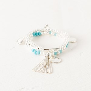 Three Strand Stone & Charm Bracelet