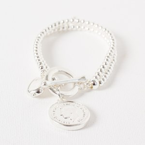 Two Strand Bead & Metal Ball Coin Toggle Bracelet