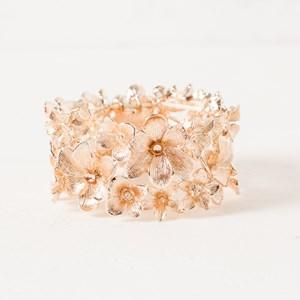 Two Row Diamante Petals Stretch Bracelet