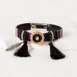 Mohican Tassel and Feather Charm Cuff
