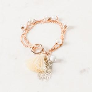 Multi Chain & Ball Cluster Toggle Bracelet
