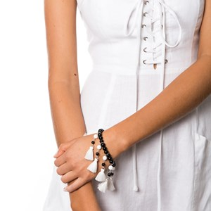 Mutli Glass & Tassel Bracelet