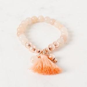 Stone & Metal Cluster Tassel Bracelet