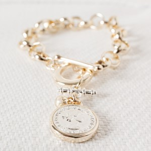 Belcher Chain Two Tone Coin & Bar Bracelet
