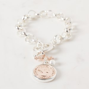 Belcher Chain Two Tone Coin & Bar Bracelet