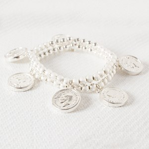 Multi Two Tone Coin Bracelet