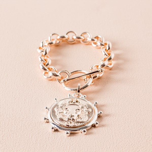 Lion Disk Chunky Chain Bracelet