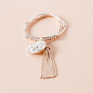 Lion Charm & Tassel Bracelet