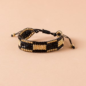Wide Beaded Tie Closure Bracelet