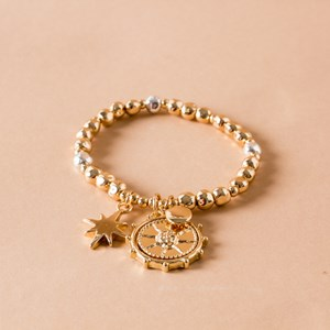Sun God Disk & Star Charm Metal Bracelet