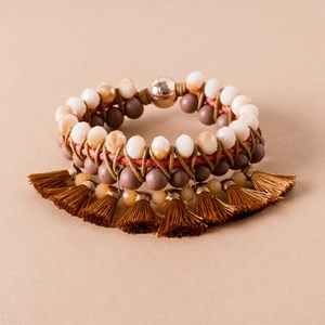 Threaded Bead & Crystal Tassel Cuff