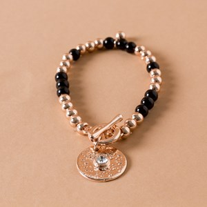 Resin & Metal Ball Mix Diamante Disk Bracelet