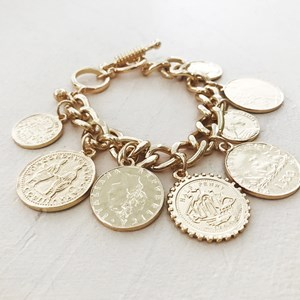 Mixed Coins Chain Toggle Bracelet