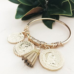 Coin & Rings Tassel Bangle
